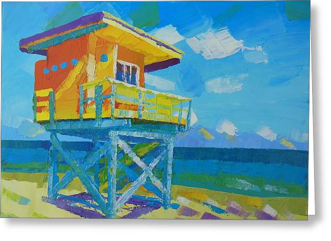 Pallet Knife Greeting Cards - Miami beach Greeting Card by Stoyan Lechtevski