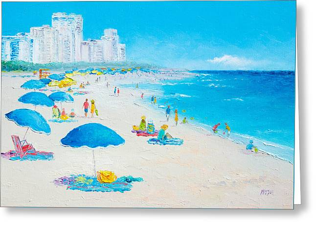 Florida House Greeting Cards - Miami Beach umbrellas Greeting Card by Jan Matson