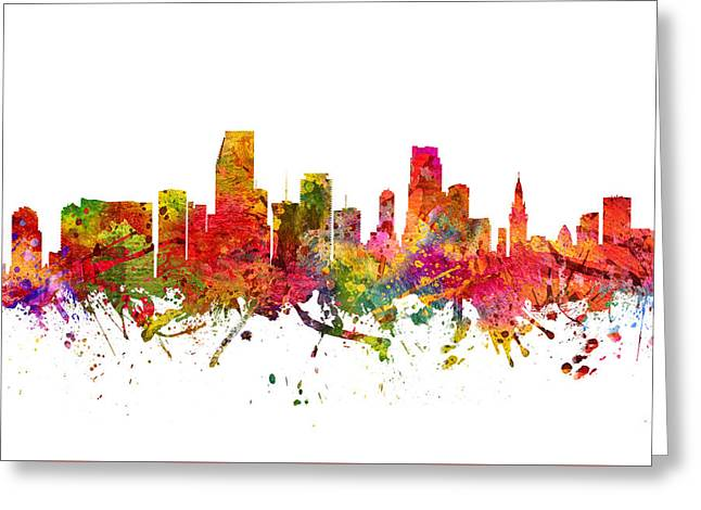 Miami Skyline Greeting Cards - Miami Cityscape 08 Greeting Card by Aged Pixel
