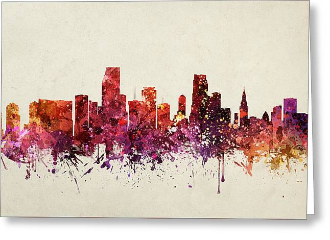 Miami Skyline Greeting Cards - Miami Cityscape 09 Greeting Card by Aged Pixel