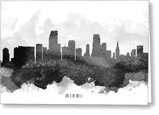 Miami Skyline Greeting Cards - Miami Cityscape 11 Greeting Card by Aged Pixel