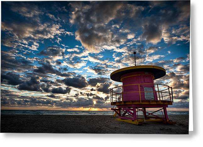 Miami Photographs Greeting Cards - Miami Dawn Greeting Card by Dave Bowman