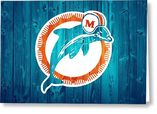 Dan Marino Mixed Media Greeting Cards - Miami Dolphins Barn Door Greeting Card by Dan Sproul
