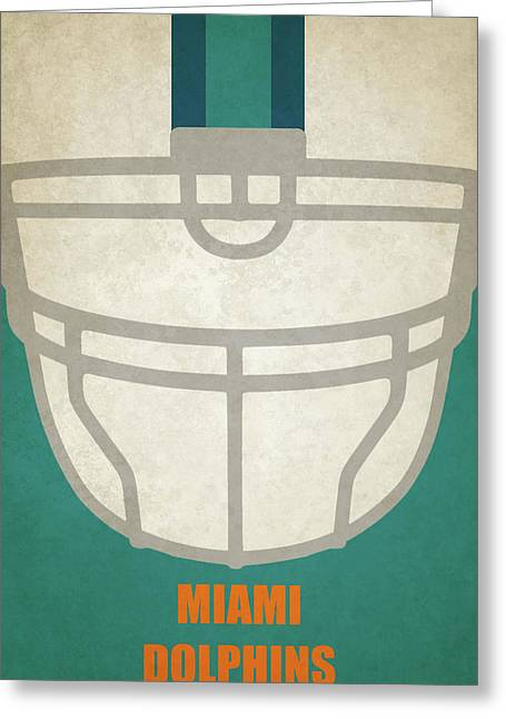 Miami Dolphins Helmet Art Greeting Card by Joe Hamilton