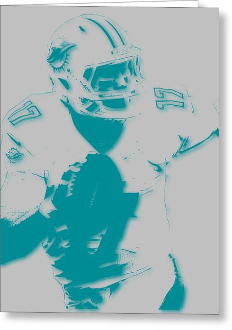 Miami Dolphins Greeting Cards - Miami Dolphins Ryan Tannehill Greeting Card by Joe Hamilton