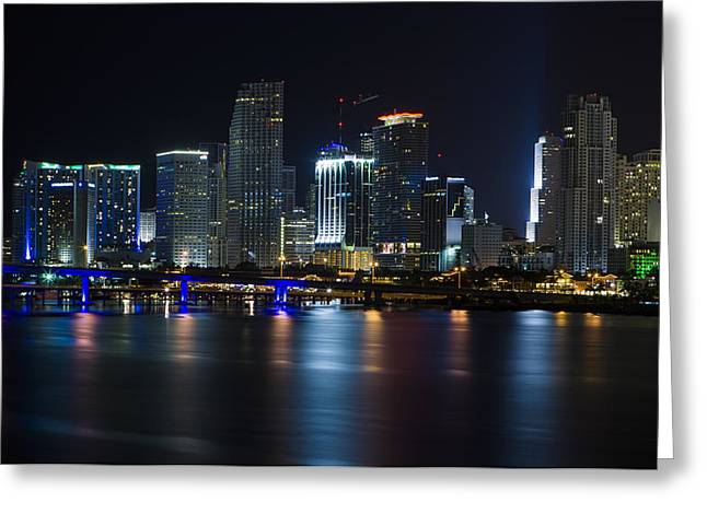 Brickell Greeting Cards - Miami Downtown Skyline Greeting Card by Raul Rodriguez