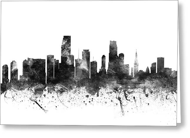 Miami Florida Cityscape 02bw Greeting Card by Aged Pixel