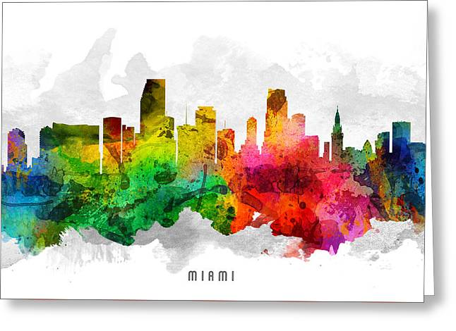 Miami Skyline Greeting Cards - Miami Florida Cityscape 12 Greeting Card by Aged Pixel