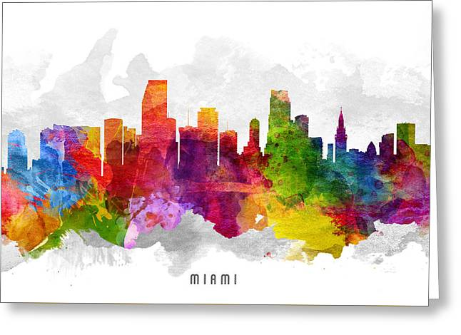 Miami Skyline Greeting Cards - Miami Florida Cityscape 13 Greeting Card by Aged Pixel