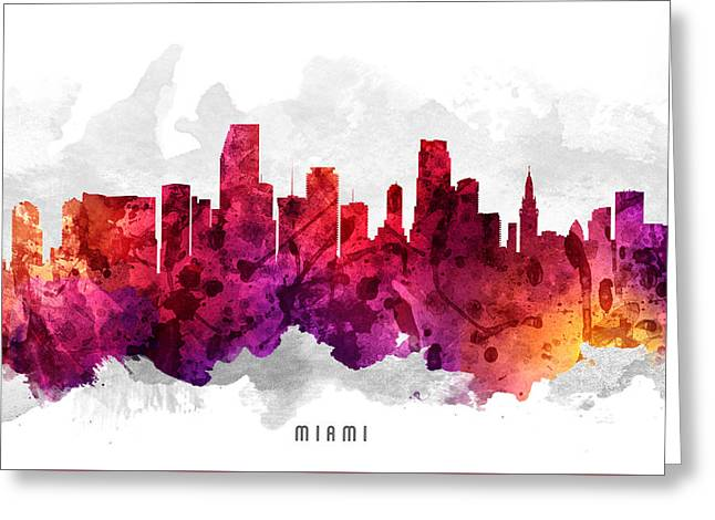 Miami Skyline Greeting Cards - Miami Florida Cityscape 14 Greeting Card by Aged Pixel