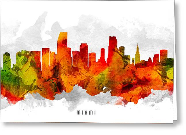 Miami Skyline Greeting Cards - Miami Florida Cityscape 15 Greeting Card by Aged Pixel