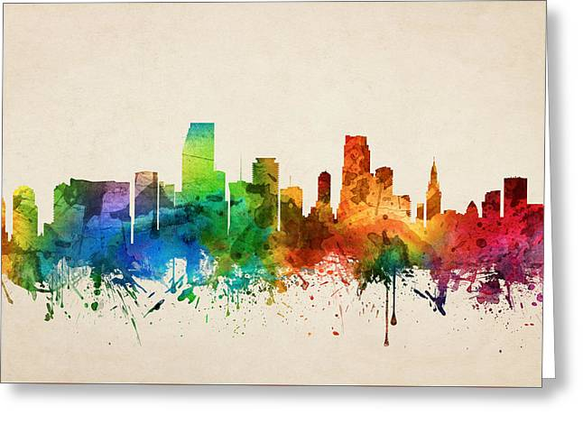 Miami Florida Skyline 05 Greeting Card by Aged Pixel