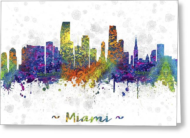 Skylines Drawings Greeting Cards - Miami Florida Skyline Color 03SQ Greeting Card by Aged Pixel