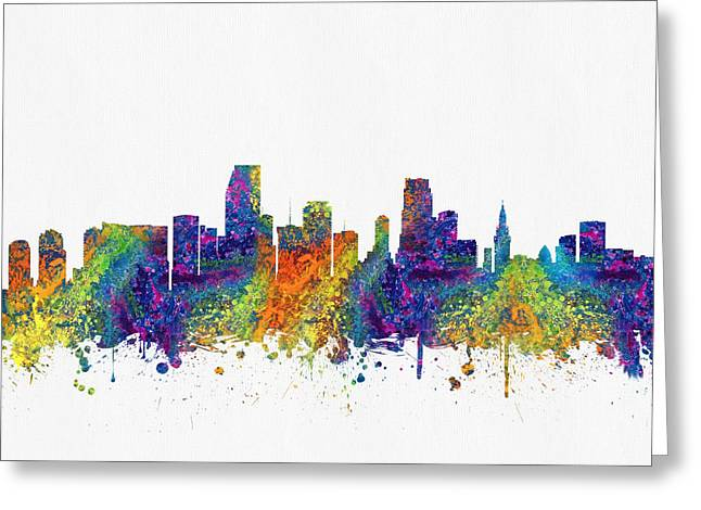 Miami Skyline Greeting Cards - Miami Florida skyline color03 Greeting Card by Aged Pixel
