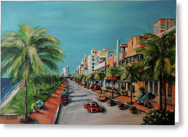 Miami Paintings Greeting Cards - Miami for Daisy Greeting Card by Dyanne Parker
