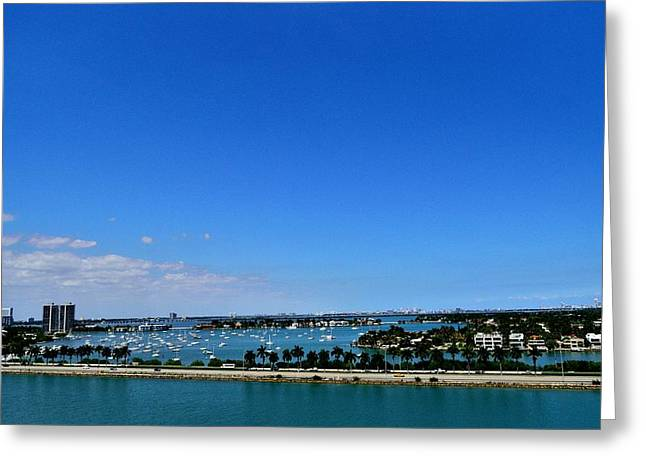 Carnival Glory Greeting Cards - Miami from Carnival Glory-1 Greeting Card by Srinivasan Venkatarajan
