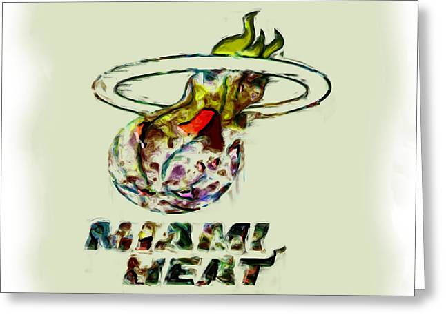 Basketballs Greeting Cards - Miami Heat Greeting Card by Brian Reaves