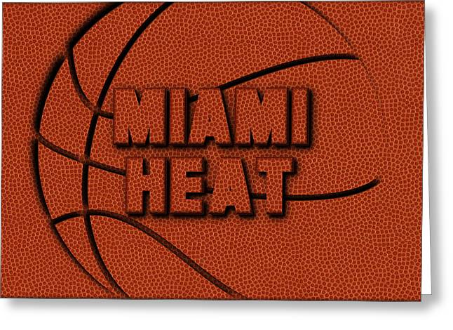 Miami Heat Leather Art Greeting Card by Joe Hamilton