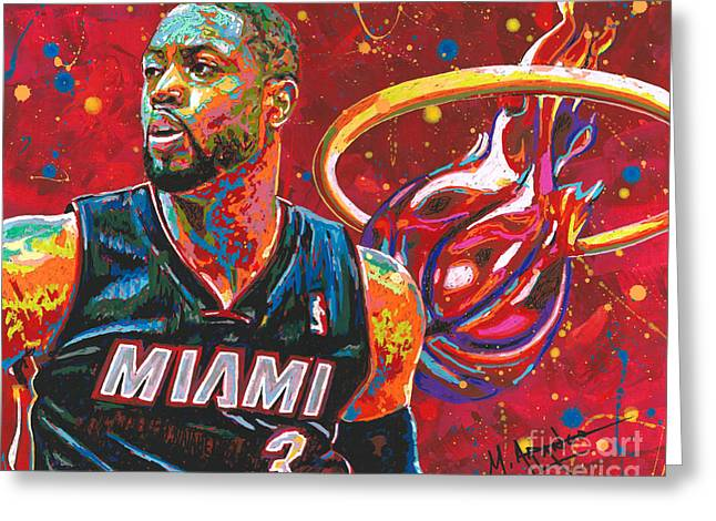 D. Wade Greeting Cards - Miami Heat Legend Greeting Card by Maria Arango