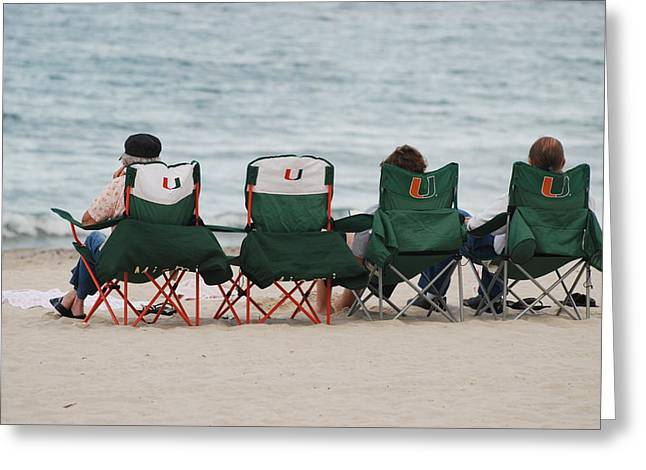 University Of Miami Greeting Cards - Miami Hurricane Fans Greeting Card by Rob Hans
