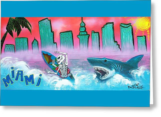 Surfer Art Greeting Cards - Miami Greeting Card by Laura Barbosa
