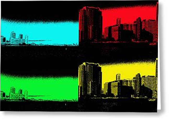 Brickell Greeting Cards - Miami Pop Art Panorama Greeting Card by Christiane Schulze Art And Photography
