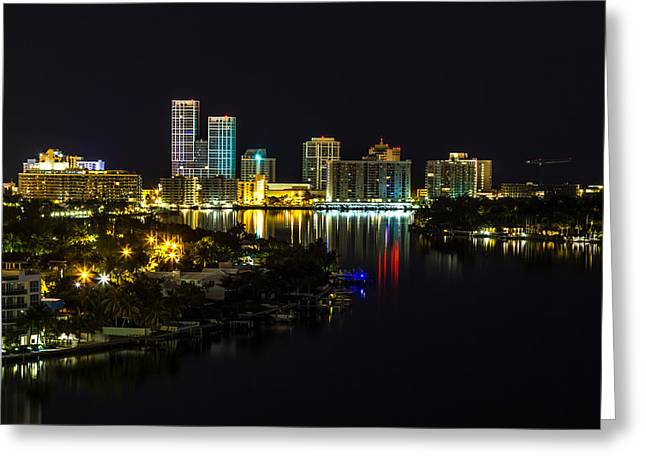 Metropolitan Pyrography Greeting Cards - North Miami Skyline  Greeting Card by Satoshi Kina