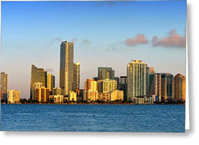 Miami Skyline In Morning Daytime Panorama Greeting Card by Jon Holiday