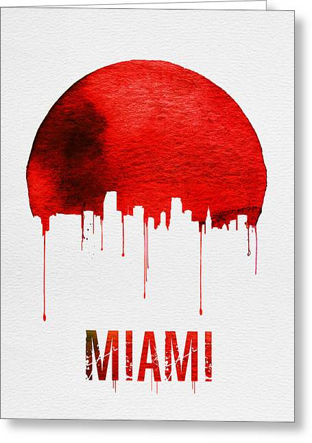Miami Skyline Red Greeting Card by Naxart Studio