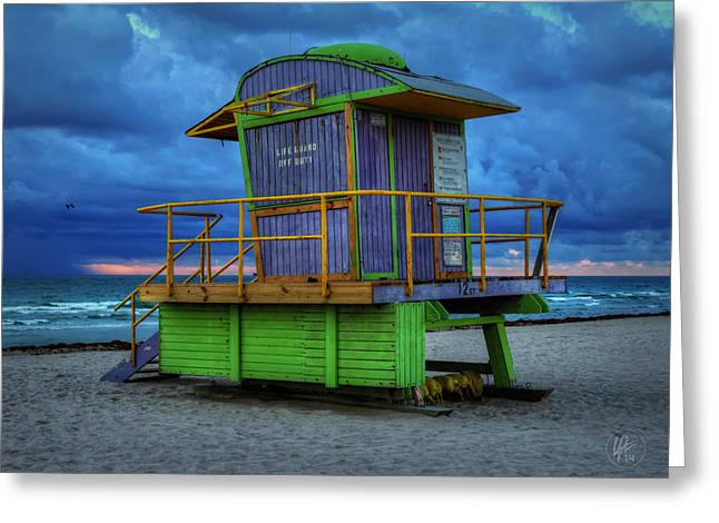 Miami - South Beach Lifeguard Stand 004 Greeting Card by Lance Vaughn