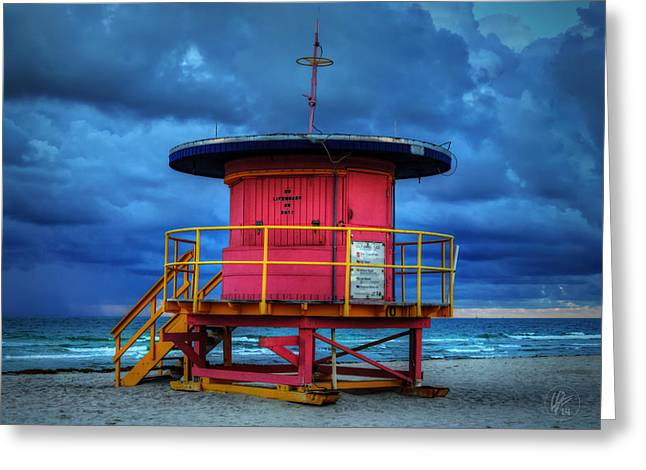 Miami - South Beach Lifeguard Stand 005 Greeting Card by Lance Vaughn