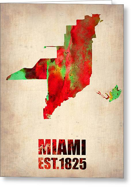 Miami Mixed Media Greeting Cards - Miami Watercolor Map Greeting Card by Naxart Studio