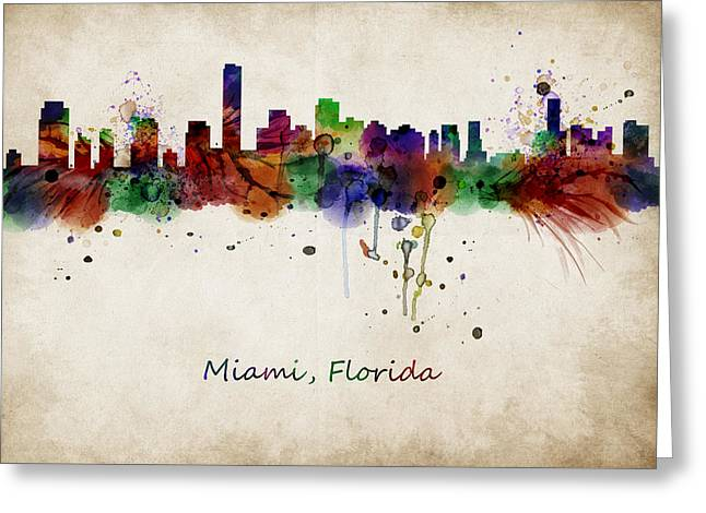 Abstract Digital Art Greeting Cards - Miami watercolor skyline Greeting Card by Mihaela Pater