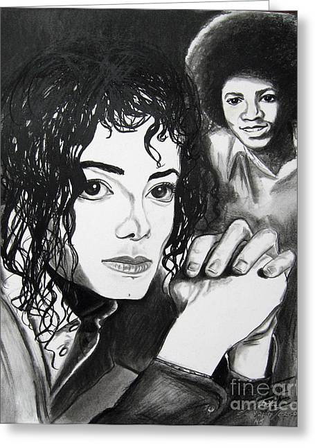 Michael Drawing Drawings Greeting Cards - Micael Jackson I Greeting Card by Toni  Thorne