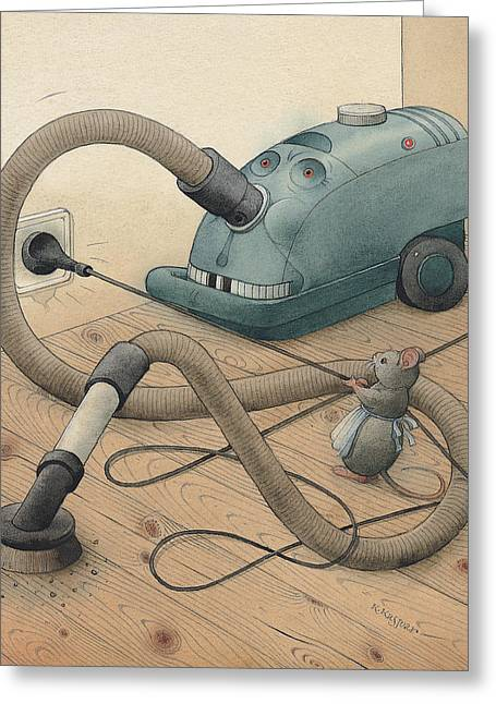 Cleaner Greeting Cards - Mice and Monster Greeting Card by Kestutis Kasparavicius