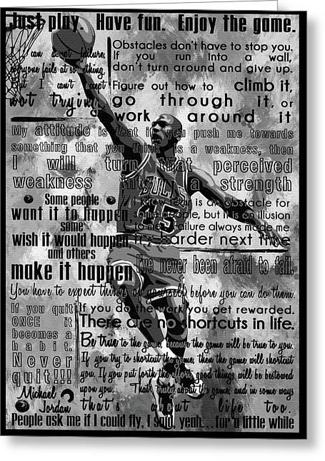 Michaeil Air Jordan Motivational Inspirational Independent Quotes 1 Greeting Card by Diana Van