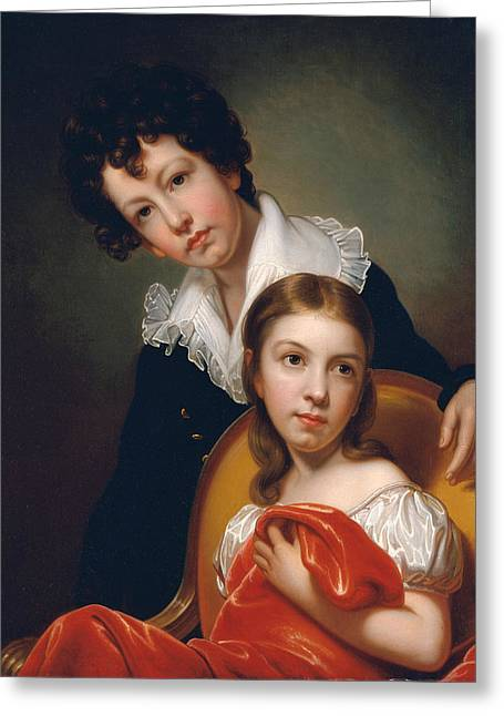 Michael Angelo And Emma Clara Peale Greeting Card by Rembrandt Peale