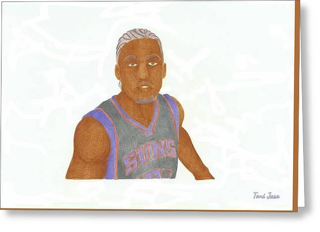Miami Heat Drawings Greeting Cards - Michael Beasley  Greeting Card by Toni Jaso