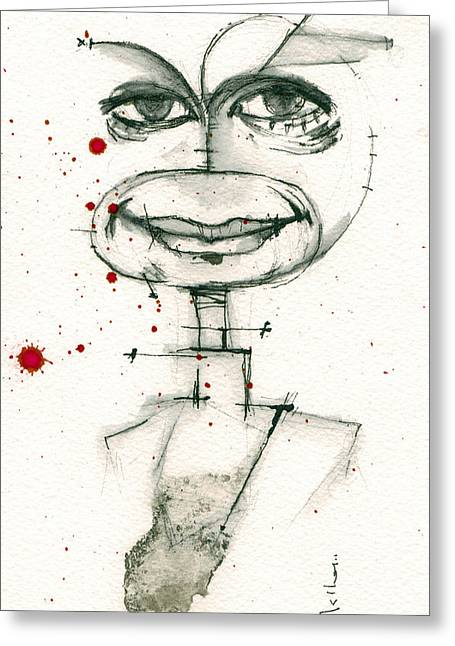 Pen And Ink Portraits Greeting Cards - Michael C. Hall as Dexter Morgan Greeting Card by Mark M  Mellon