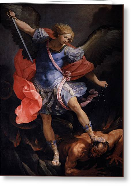 Archangel  Michael Defeated Satan Greeting Card by Guidoreni