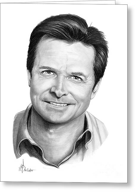 Michael Drawing Drawings Greeting Cards - Michael J. Fox Greeting Card by Murphy Elliott