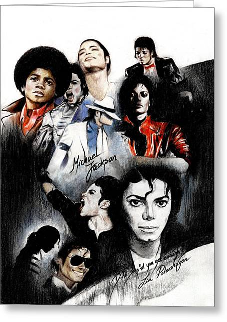 King Greeting Cards - Michael Jackson - King of Pop Greeting Card by Lin Petershagen