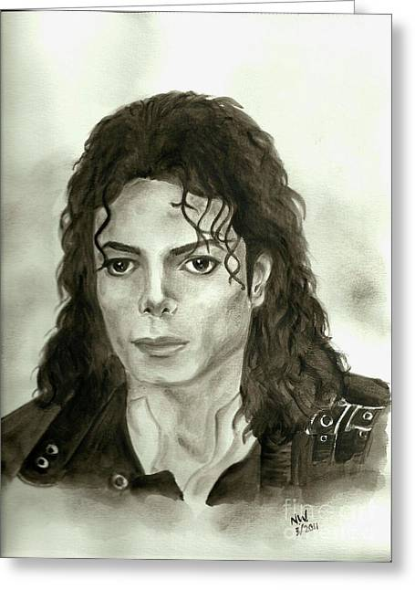 Mj Paintings Greeting Cards - Michael Jackson - My Dreams My Life Greeting Card by Nicole Wang