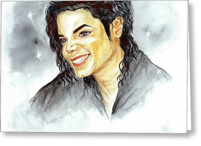 Michael Jackson - Smile Greeting Card by Nicole Wang