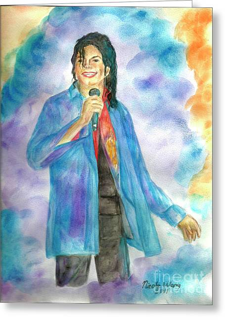 Mj Paintings Greeting Cards - Michael Jackson - The Final Curtain Call Greeting Card by Nicole Wang
