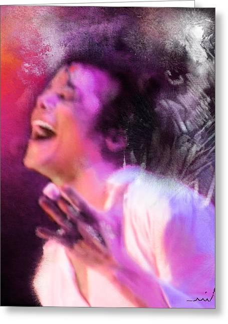 Miki Digital Greeting Cards - Michael Jackson 11 Greeting Card by Miki De Goodaboom