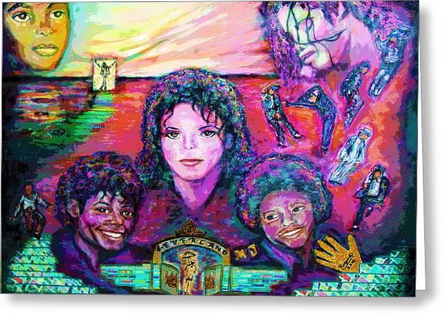 Mj Paintings Greeting Cards - Michael Jackson 4-Everland Greeting Card by Regina Brandt