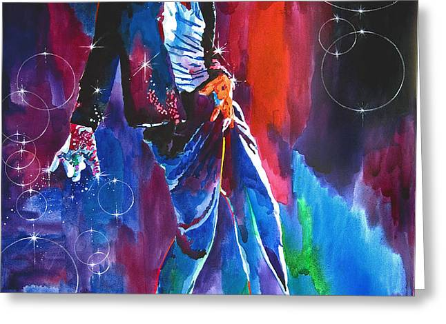 Michael Jackson Action Greeting Card by David Lloyd Glover