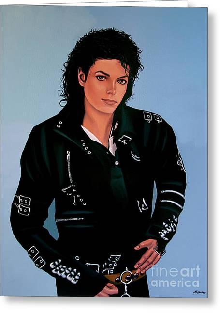 Mj Greeting Cards - Michael Jackson Bad Greeting Card by Paul Meijering