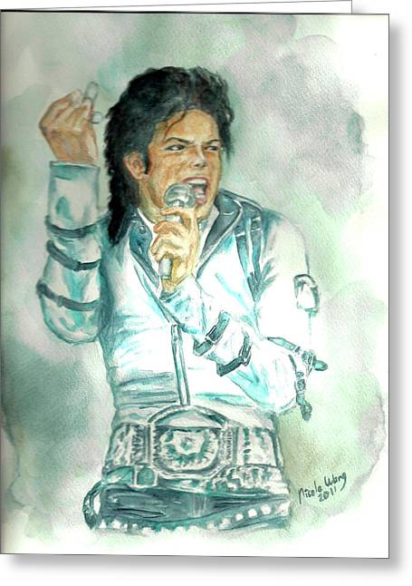 Michael Jackson Bad Tour Greeting Card by Nicole Wang